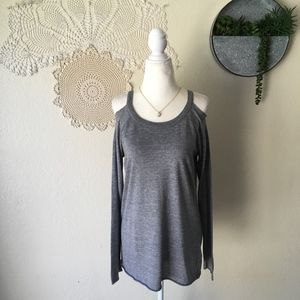 Chaser athletic grey cold shoulder long sleeve tee
